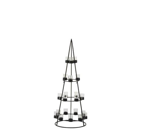 J -Line Theelichthouder Boom Metaal Glas  Zwart - Large