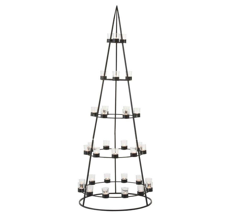 Theelichthouder Boom Metaal Glas  Zwart - Extra Large