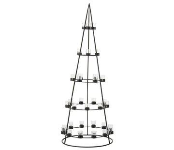 J-Line Theelichthouder Boom Metaal Glas  Zwart - Extra Large