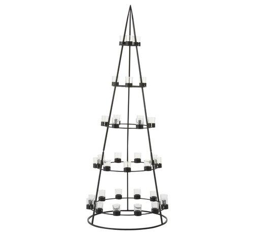 J -Line Theelichthouder Boom Metaal Glas  Zwart - Extra Large
