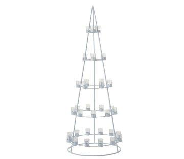 J-Line  Tealight holder Boom Metal Glass White - Extra Large