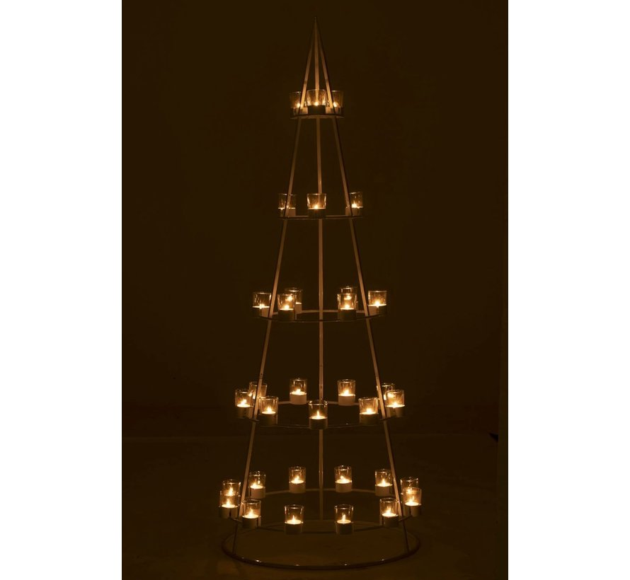 Tealight holder Boom Metal Glass White - Extra Large