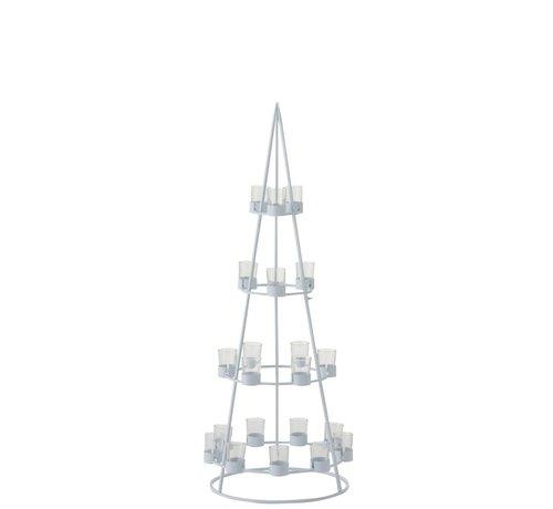 J -Line Theelichthouder Boom Metaal Glas Wit - Large
