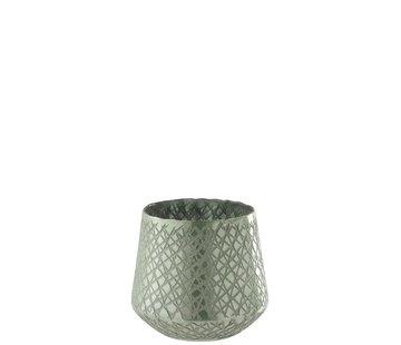 J -Line Tealight holder Glass Conical Scratches Mint green - Medium