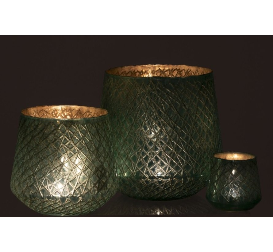 Tealight Holder Glass Conical Scratches Mint Green - Large