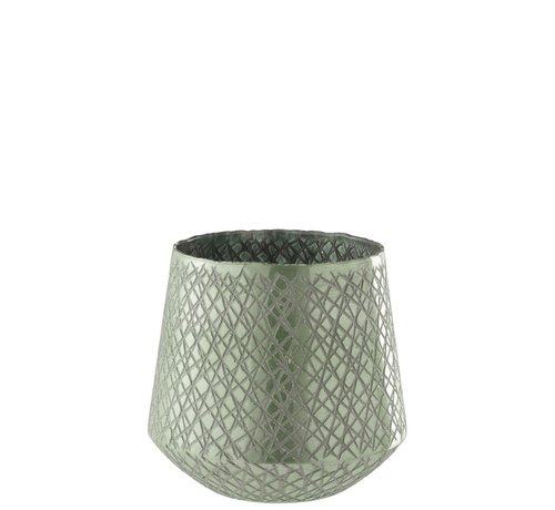 J-Line  Tealight Holder Glass Conical Scratches Mint Green - Large