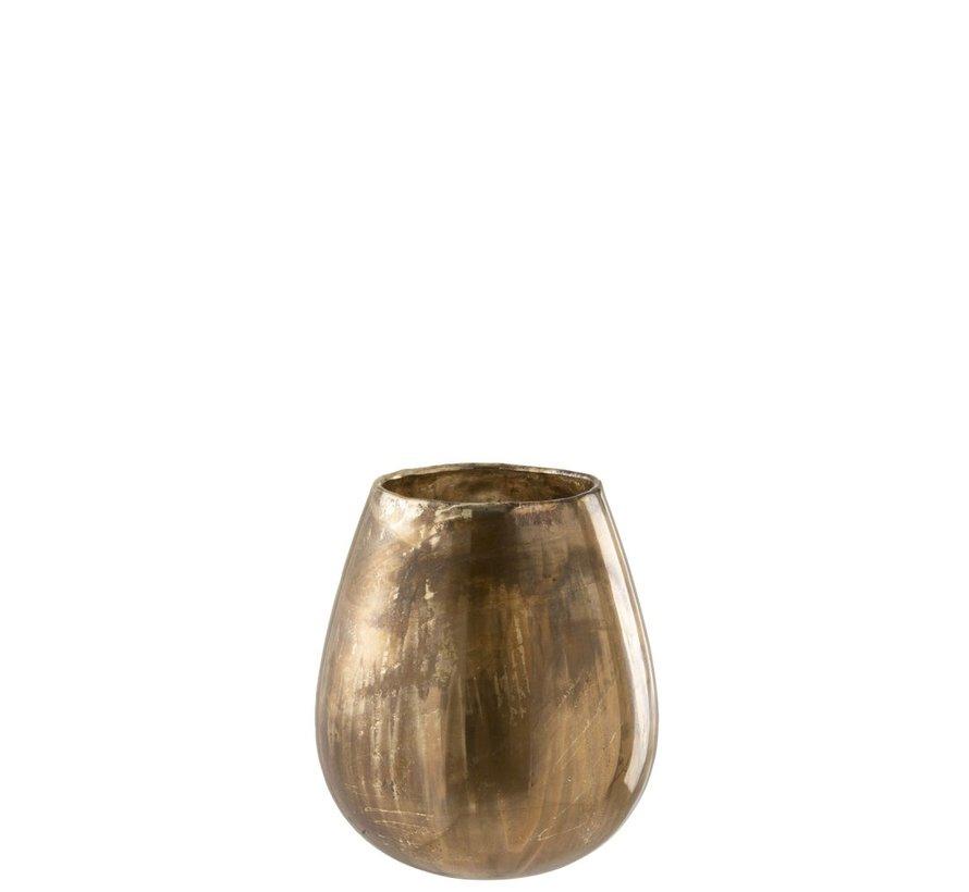Theelichthouder Glas Hoog Antiek Goud - Large