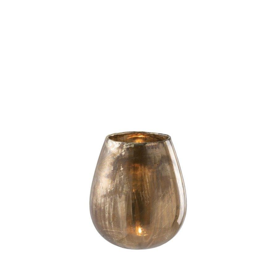 Tealight Holder Glass High Antique Gold - Large