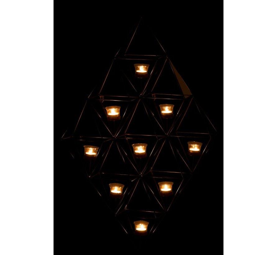 Wand Theelichthouder Glas Metaal Ruit - Zwart