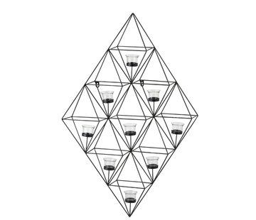 J-Line Wand Theelichthouder Glas Metaal Ruit - Zwart