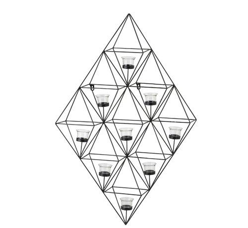 J -Line Wand Theelichthouder Glas Metaal Ruit - Zwart