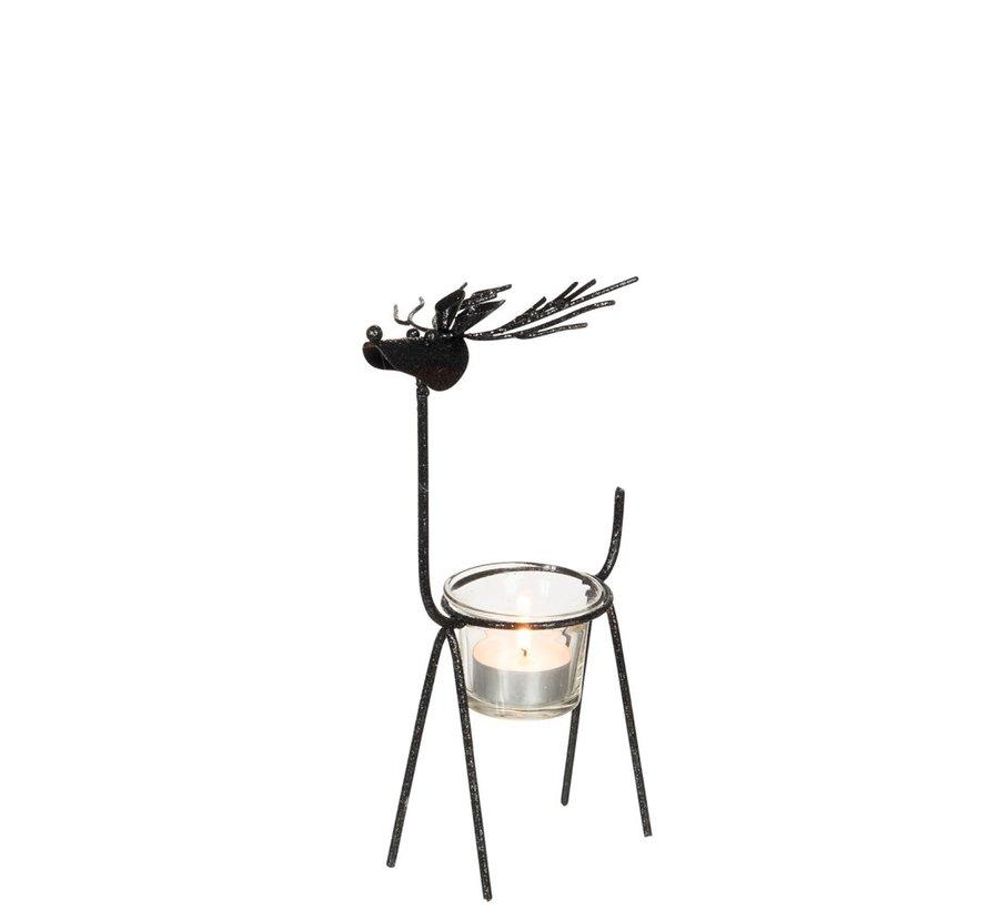 Tea Light Holder Glass Reindeer Metal - Glitter Black