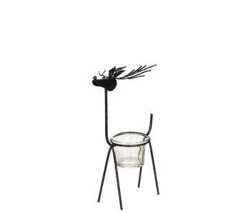J -Line Tea Light Holder Glass Reindeer Metal - Glitter Black