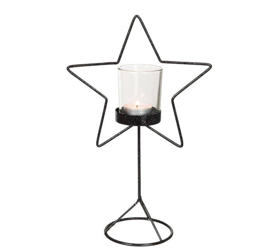 Tealight holder Glass Star Metal - Glitter Black