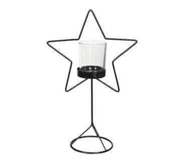 J -Line Tealight holder Glass Star Metal - Glitter Black