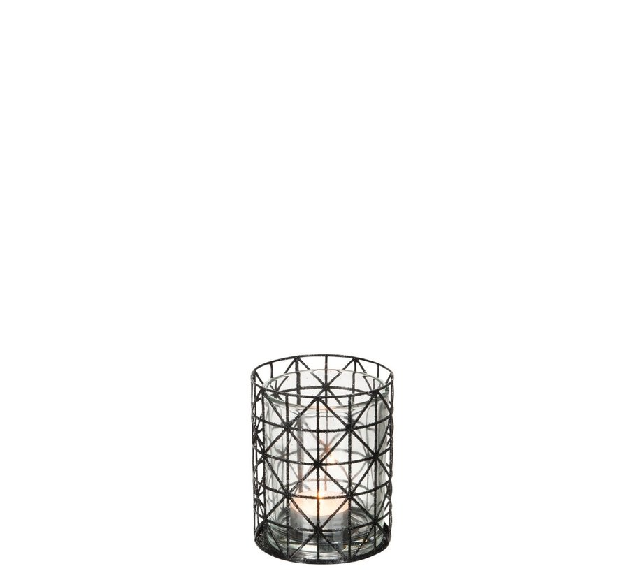 Tea Light Holder Glass Grid Metal Glitter Black - Small
