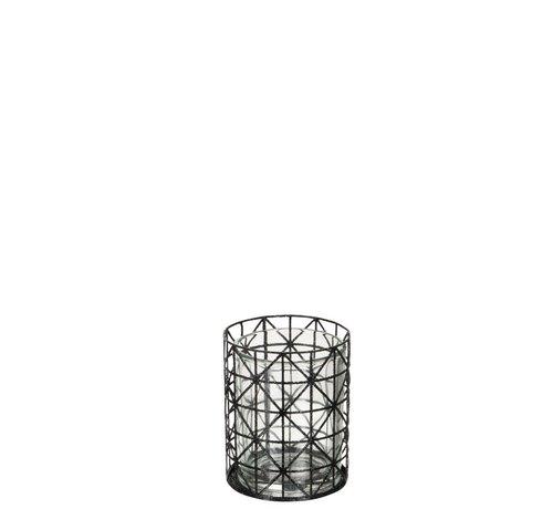 J-Line Theelichthouder Glas Raster Metaal Glitter Zwart - Small