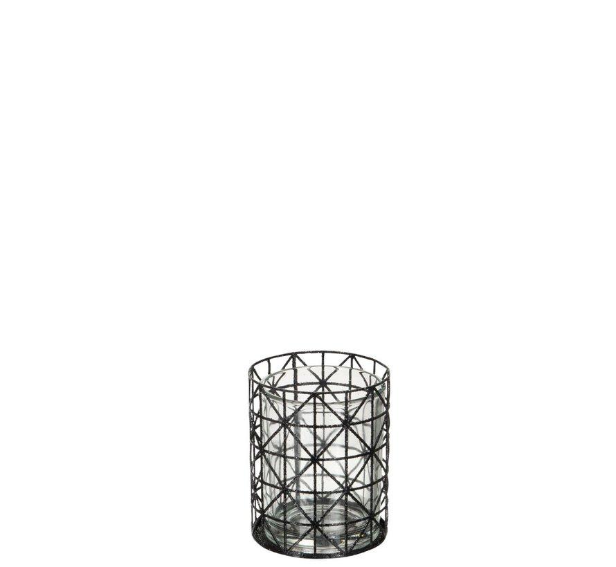 Theelichthouder Glas Raster Metaal Glitter Zwart - Small
