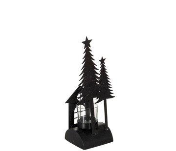 J -Line Theelichthouder Kerst Glas Metaal Glitter Zwart - Small