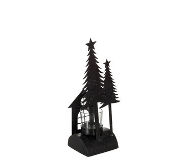 J-Line  Theelichthouder Kerst Glas Metaal Glitter Zwart - Small