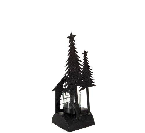 J -Line Tea Light Holder Christmas Glass Metal Glitter Black - Small