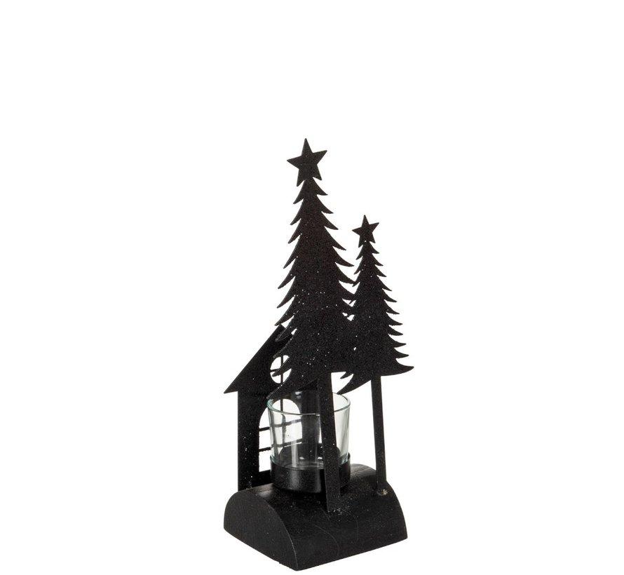 Tea Light Holder Christmas Glass Metal Glitter Black - Small