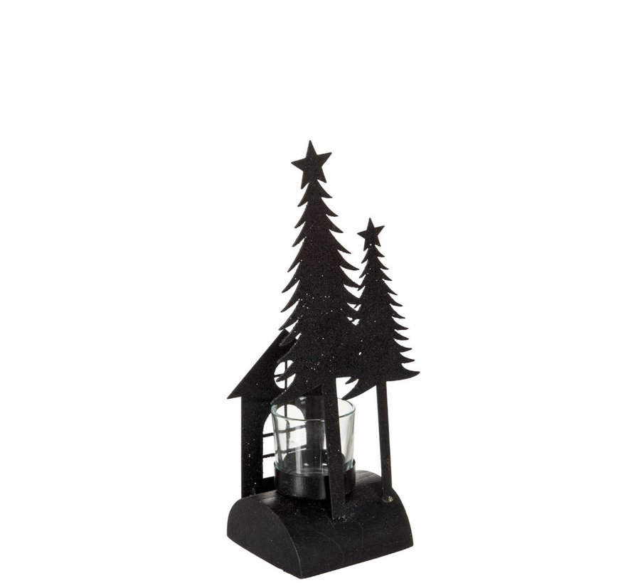 Theelichthouder Kerst Glas Metaal Glitter Zwart - Small