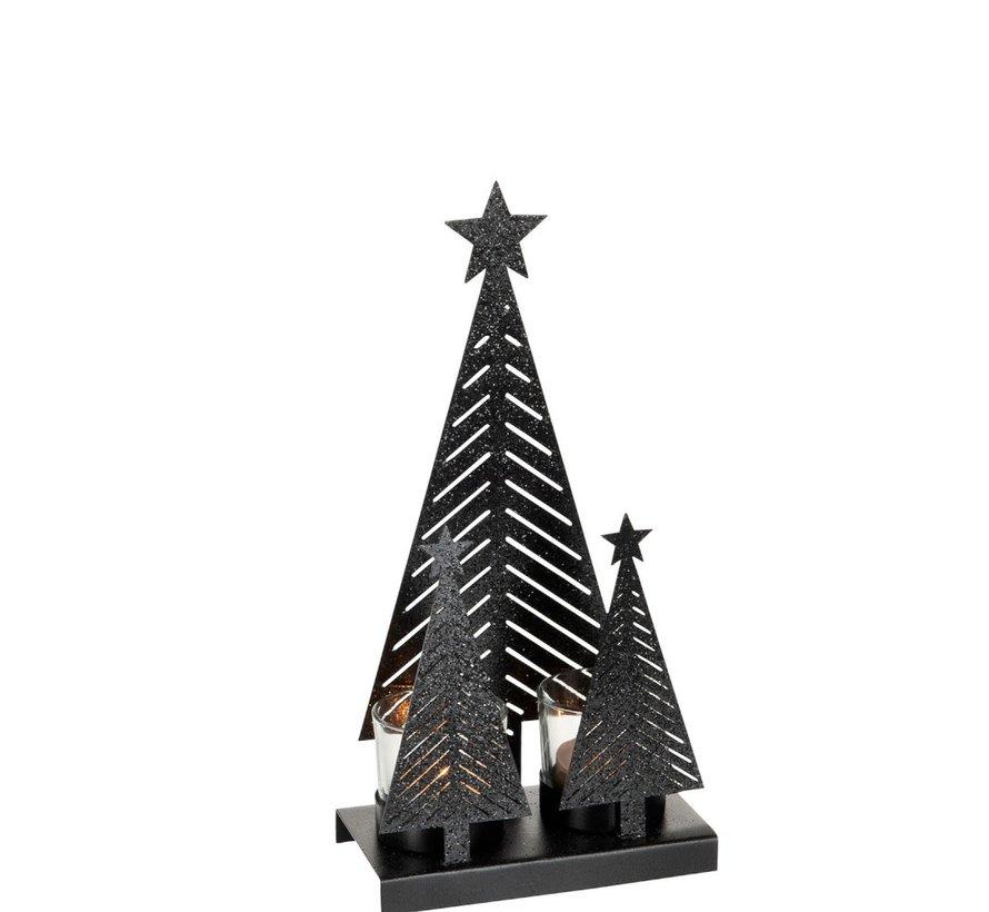 Tealight holder Christmas Glass Metal Glitter Black - Medium