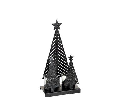J-Line  Theelichthouder Kerst Glas Metaal Glitter Zwart - Medium