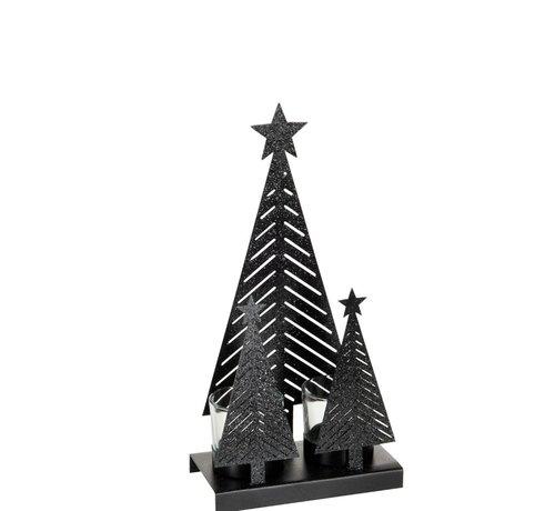 J -Line Theelichthouder Kerst Glas Metaal Glitter Zwart - Medium