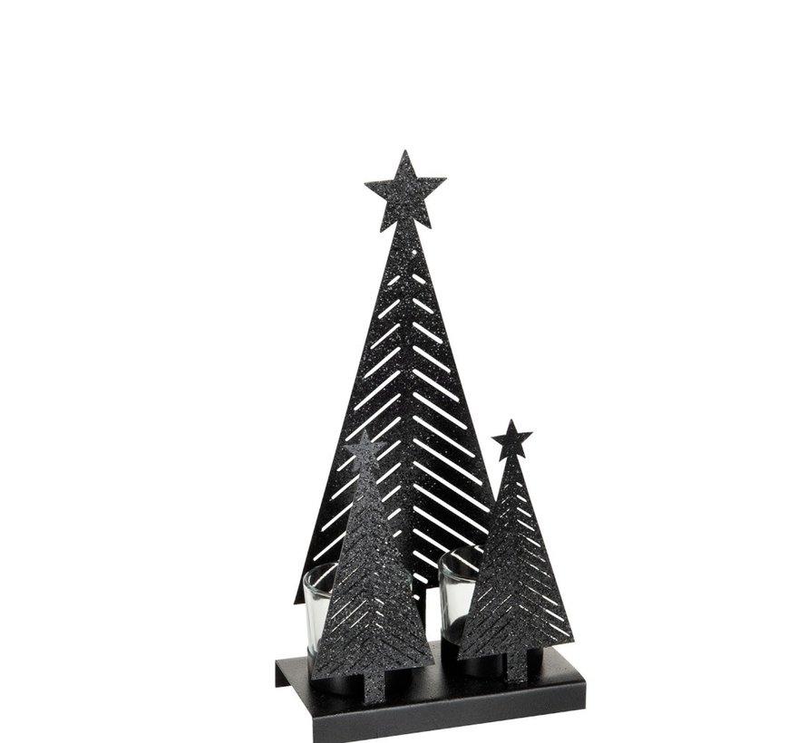 Theelichthouder Kerst Glas Metaal Glitter Zwart - Medium
