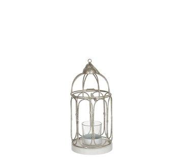 J-Line  Theelichthouder Glas Metaal Vogelkooi - Glitter Zilver