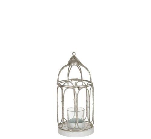 J -Line Tea Light Holder Glass Metal Birdcage - Glitter Silver