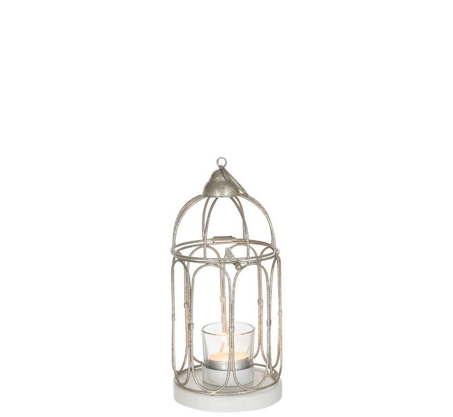 Tea Light Holder Glass Metal Birdcage - Glitter Silver
