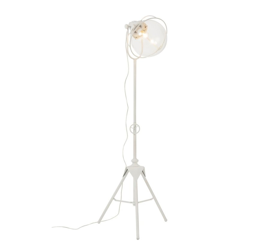 Standing Lamp On Legs Metal Glass White - Large
