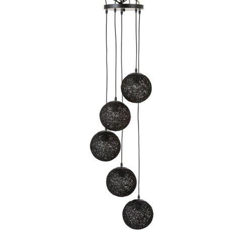 J -Line Hanglamp Rotan Zes Bollen - Zwart