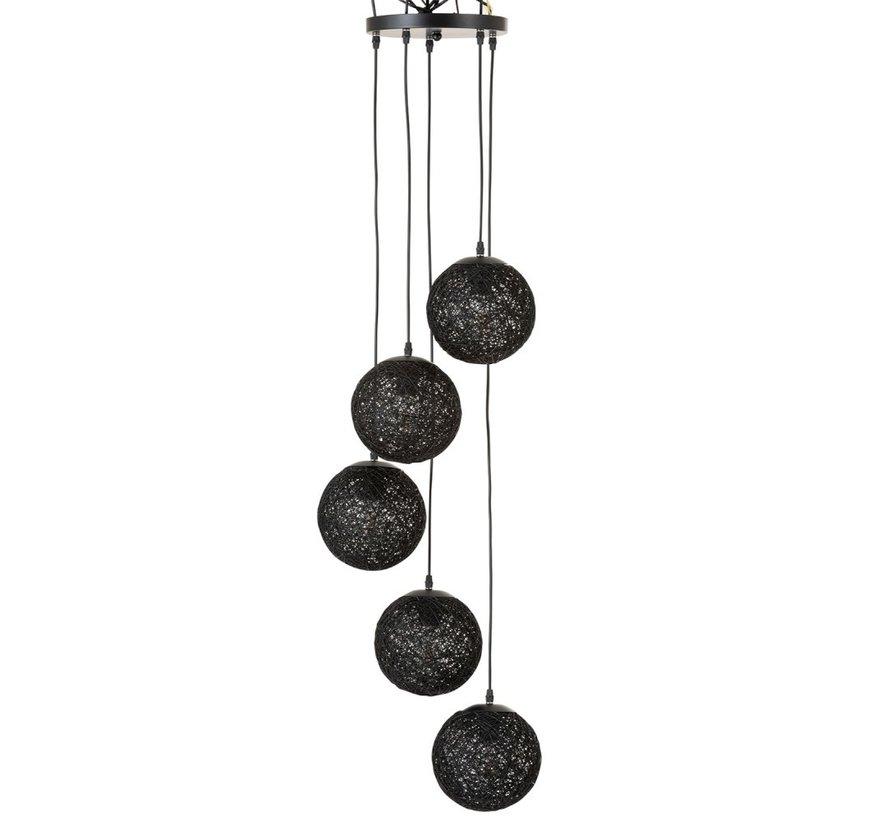 Rattan Hanging Lamp Six Bulbs - Black