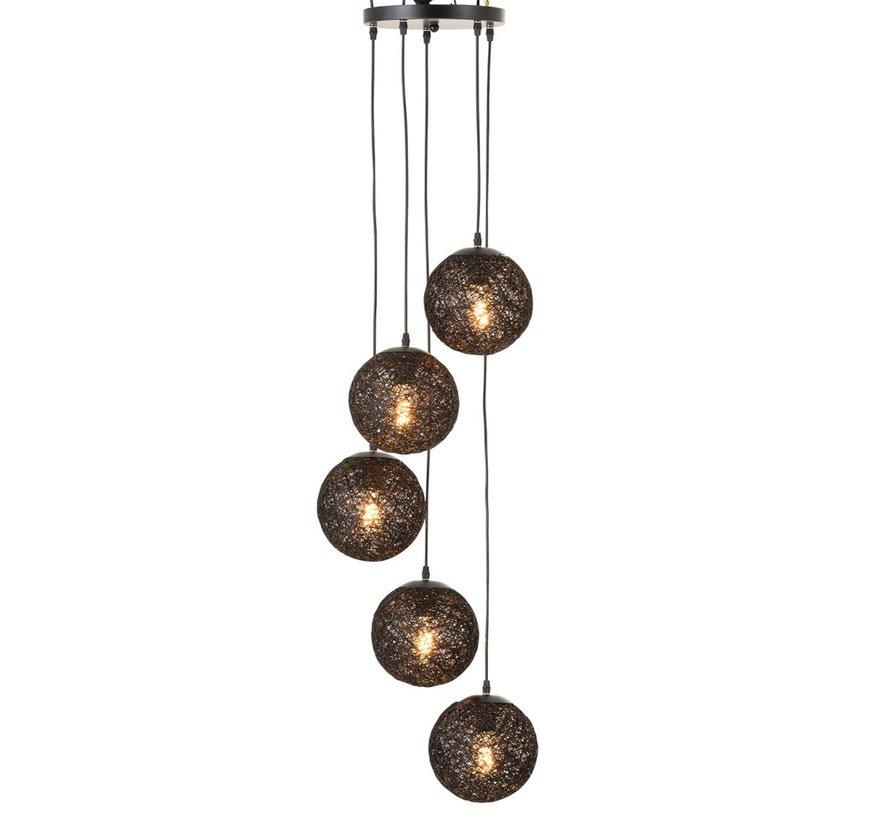 Hanglamp Rotan Zes Bollen - Zwart