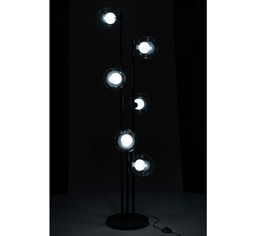 Floor Lamp Metallic Glass Six Bulbs - Black