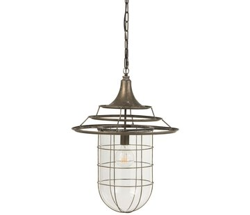 J-Line Hanging Lamp Metal Glass Industrial With Shade - Gray