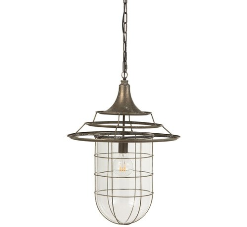 J -Line Hanglamp Metaal Glas Industrieel Met Kap - Grijs