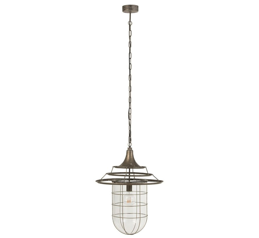 Hanging Lamp Metal Glass Industrial With Shade - Gray
