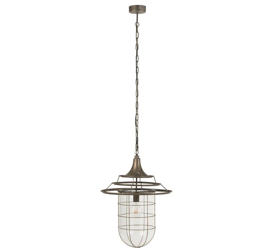 Hanglamp Metaal Glas Industrieel Met Kap - Grijs
