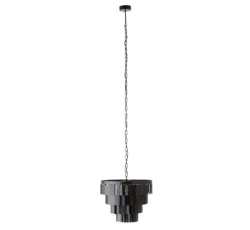 J -Line Hanglamp Rond Metaal Plaatjes - Zwart