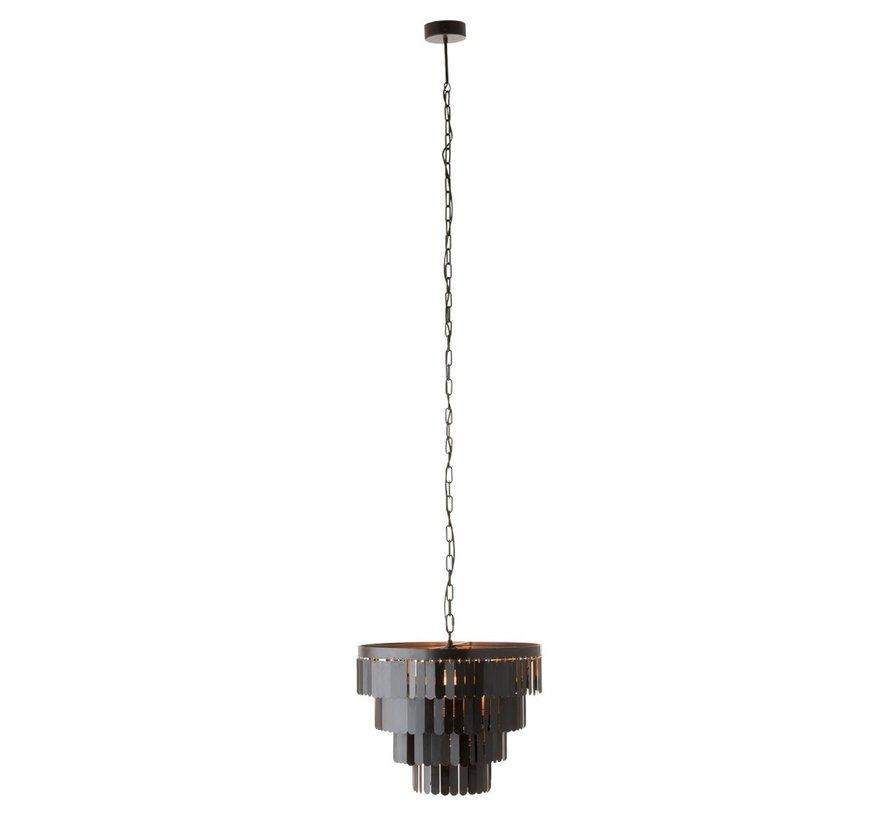 Hanging Lamp Round Metal Pictures - Black