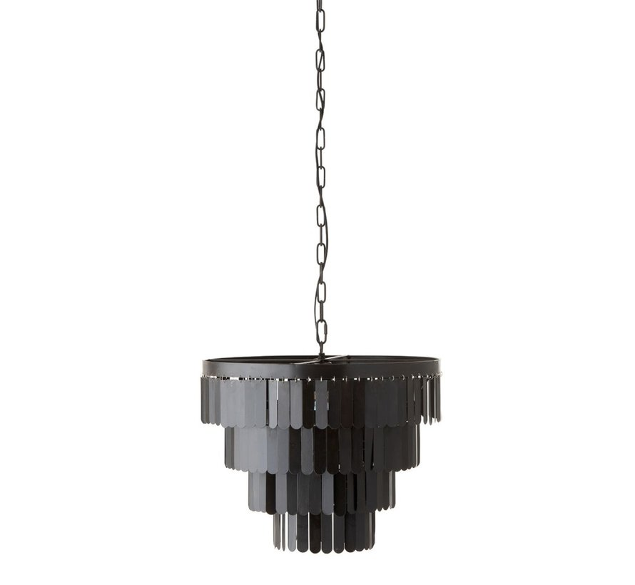 Hanglamp Rond Metaal Plaatjes - Zwart