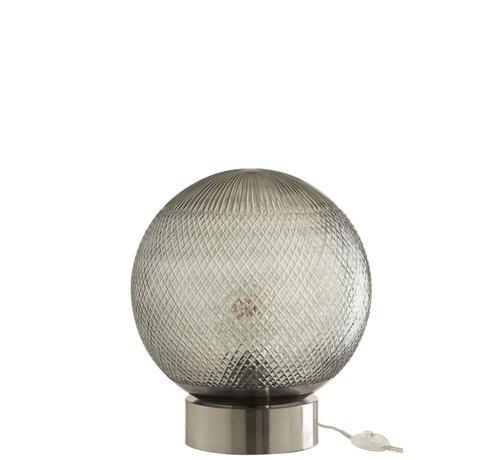 J -Line Tafellamp Glas Bol Transparant - Zilver
