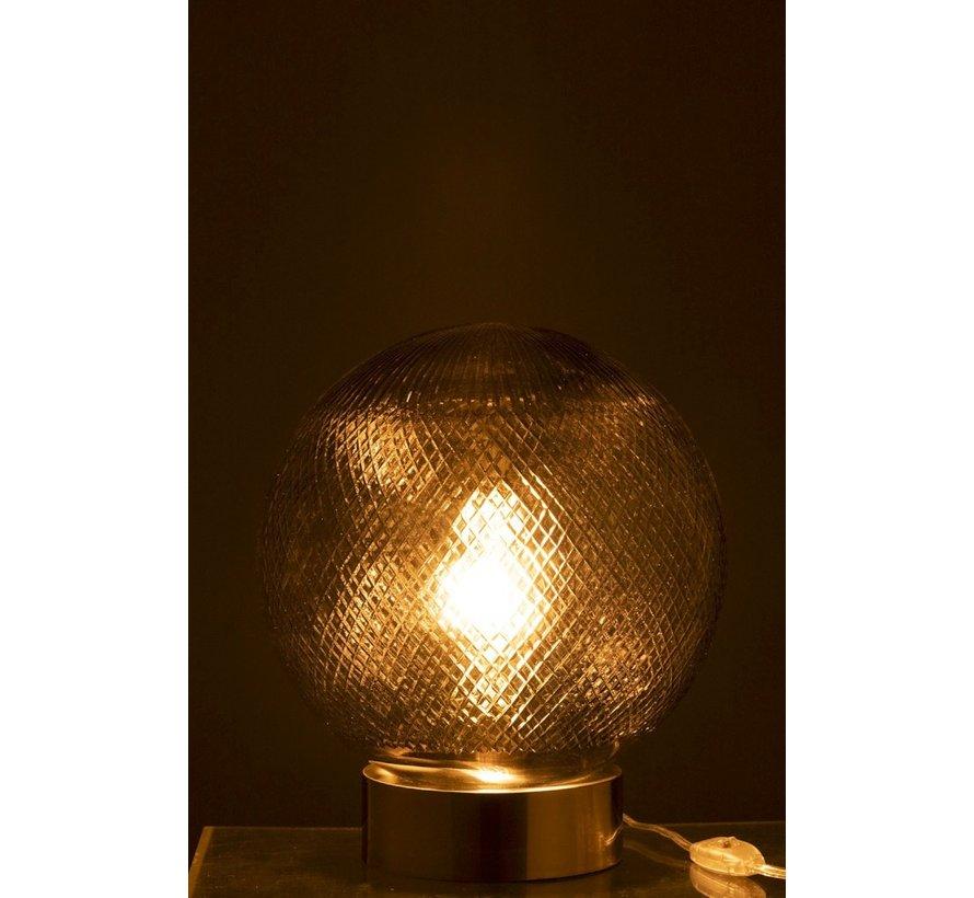 Tafellamp Glas Bol Transparant - Zilver