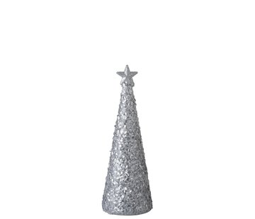 J-Line  Tafellamp Kerstkegel Suikerglas Led Wit - Small