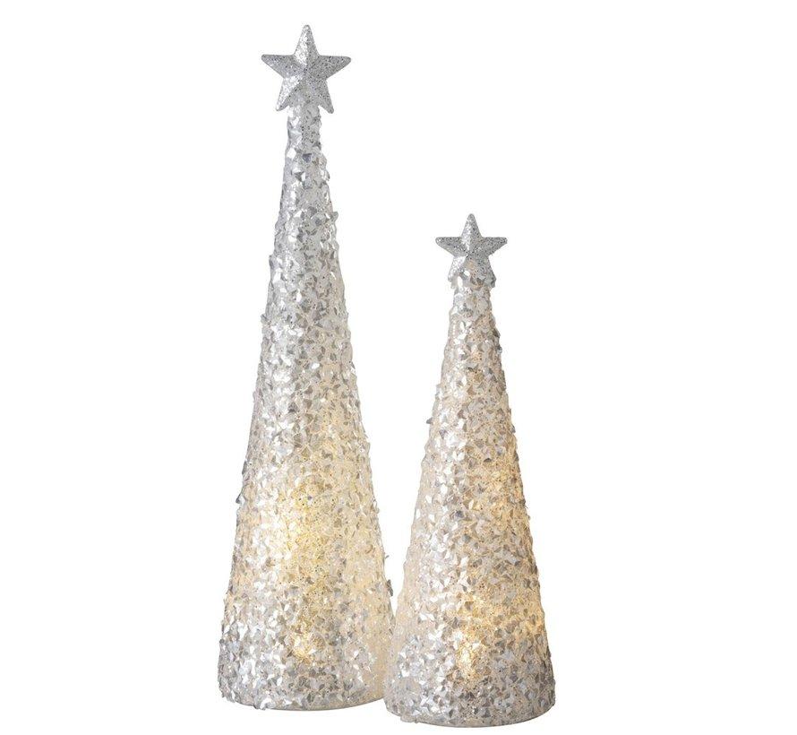 Tafellamp Kerstkegel Suikerglas Led Wit - Large